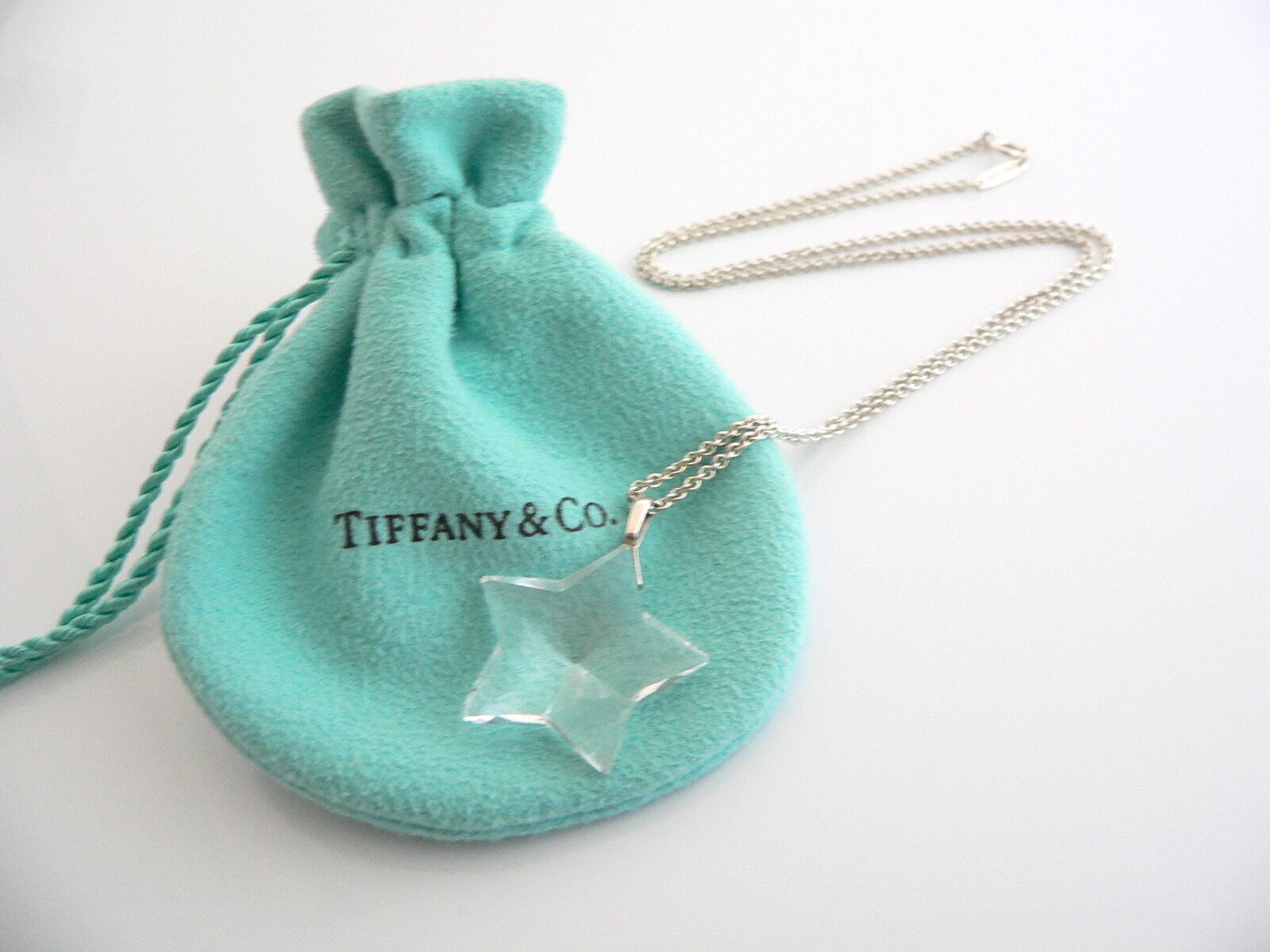 Tiffany & Co Silver Rock Crystal Star Necklace Pendant Chain Gift Pouch Love