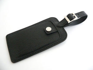 Tiffany & Co Black Textured Leather Luggage Tag Excellent Classic!