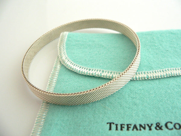 Tiffany & Co Silver Somerset Mesh Weave Bangle Bracelet Gift Pouch Love Art