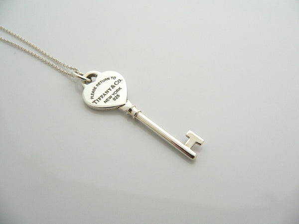 Tiffany Co Silver Return to Tiffany Heart Key Necklace Pendant 18 In Chain Gift