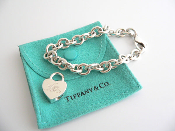 Tiffany & Co Silver Notes Heart Padlock Charm Bracelet Bangle 7.4 Inch Gift Love
