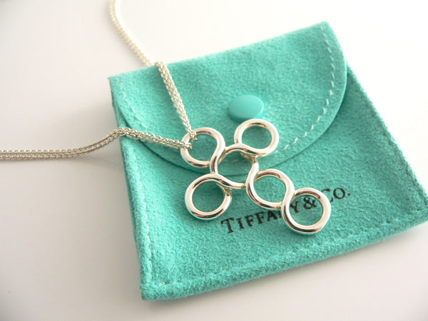 Tiffany & Co Silver Cross Circle Necklace Pendant Charm 18 Inch Gift Pouch Love