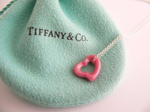 Tiffany & Co Pink Rhodonite Open Heart Necklace Pendant Silver Gift Pouch Love