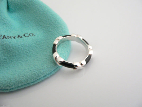 Tiffany & Co Silver Black Enamel Signature X Stacking Ring Band Sz 5 Gift Love