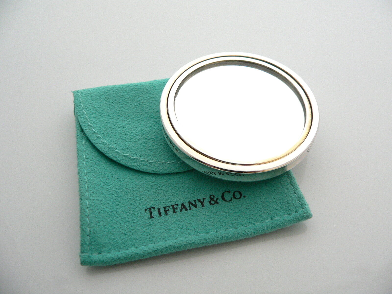 Tiffany & Co Silver 1837 Circle Round Purse Mirror Rare Classic Pouch Cool Gift