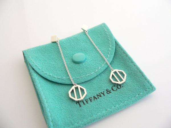 Tiffany & Co Silver Picasso Zellige Dangling Dangle Earrings Rare Gift Pouch