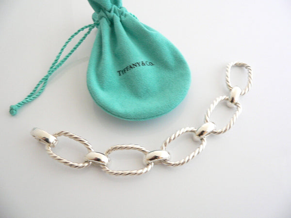 Tiffany & Co Silver Large Cable Rope Oval Link Bracelet Bangle Rare Gift