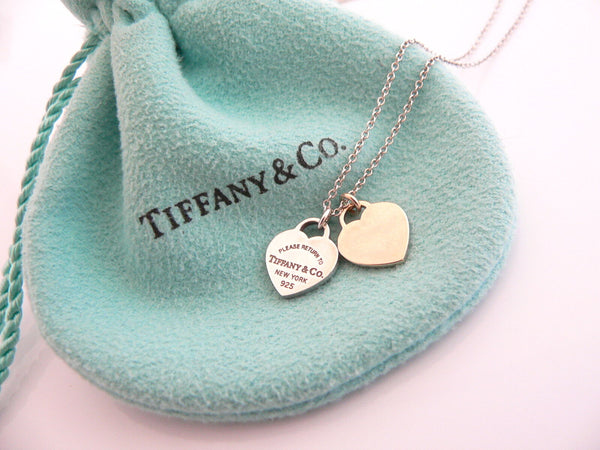 Tiffany & Co Silver 18K Rose Gold Return Two Hearts Necklace Pendant Love Gift