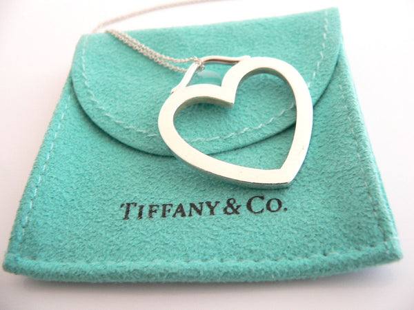 Tiffany & Co Silver Heart Necklace Pendant Charm Chain Gift Pouch Love