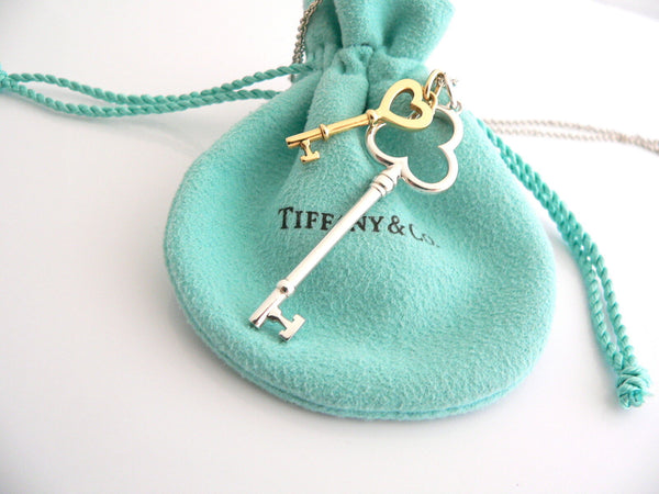 Tiffany Co Silver 18K Gold Heart Key Trefoil Necklace Pendant Charm 18 Inch Gift