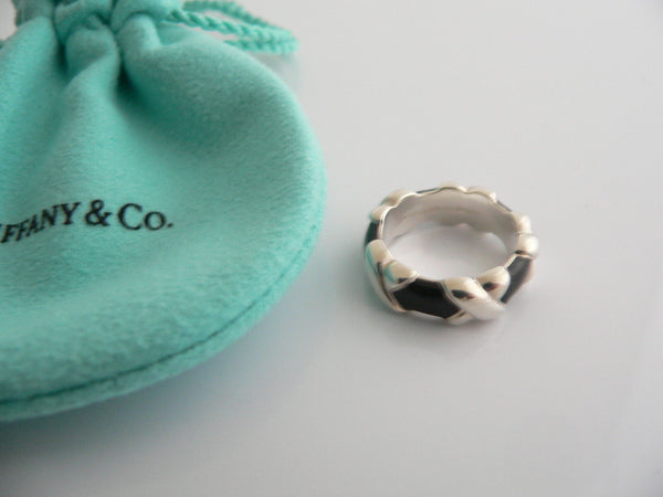Tiffany & Co Silver Black Enamel Signature X Stacking Ring 4.25 Gift MINT Love