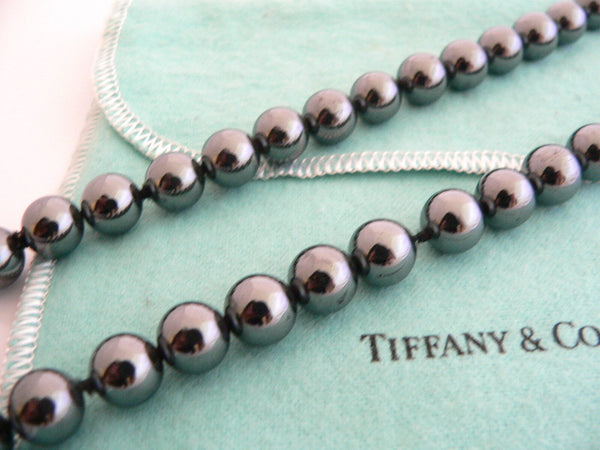 Tiffany & Co Silver Hematite Necklace 29 Inch Bead Strand Gift Pouch Love
