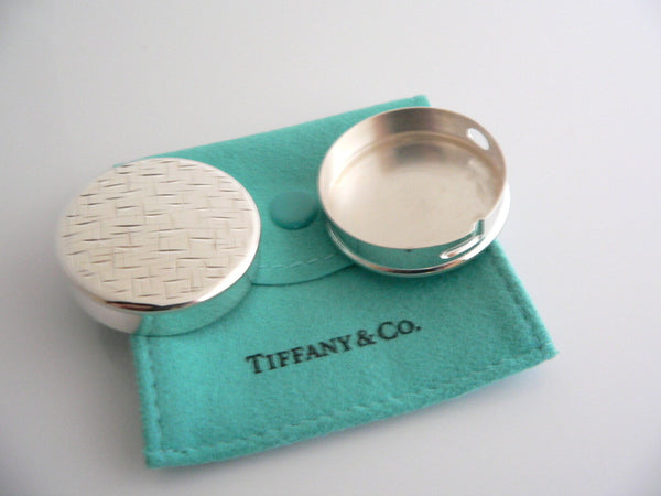 Tiffany & Co Silver Circle Weave Pill Box Case Container Gift Pouch