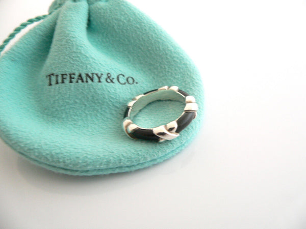 Tiffany & Co Silver Black Enamel Signature X Stacking Ring Band Sz 5.5 Gift Love