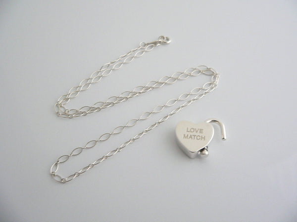 Tiffany & Co Silver Love Match Heart Padlock Necklace Pendant Charm Oval Chain