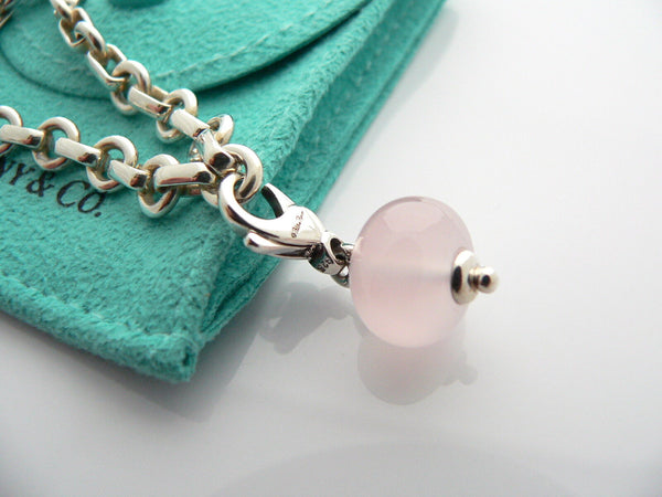 Tiffany & Co  Pink Rose Quartz Charm Donut Bracelet Bangle Link Chain Gift