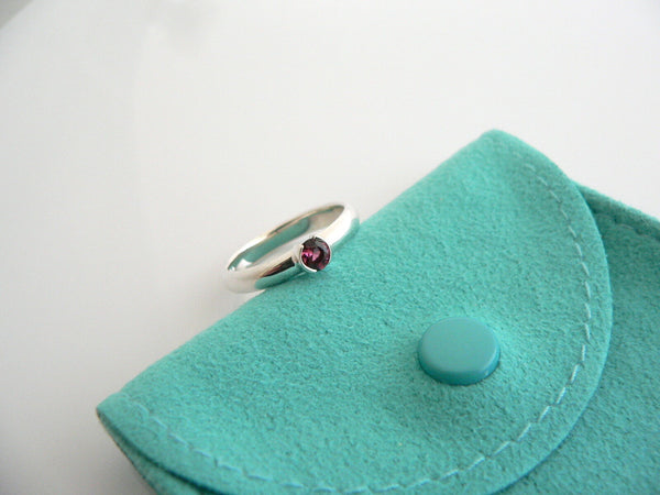 Tiffany & Co Silver Pink Tourmaline Ring Round Gemstone Stacking Band Sz 7 Gift