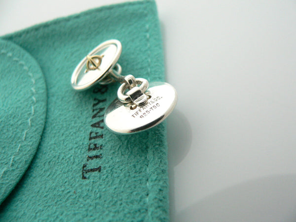 Tiffany & Co Silver 18K Gold Double Button CuffLinks Cuff Links Gift Pouch Love