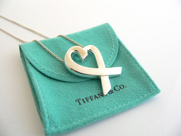 Tiffany & Co Picasso Extra Large XL Loving Heart Necklace Pendant 25 Inch