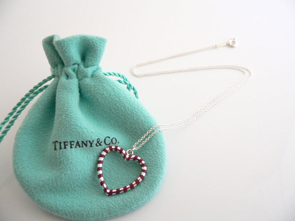 Tiffany & Co Palina Red Heart Necklace Pendant 19 Inch Chain Gift Pouch Art Rare