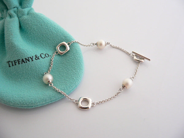 Tiffany & Co Silver Cushion Pearl Pearls Bracelet Bangle Chain Gift Love Pouch
