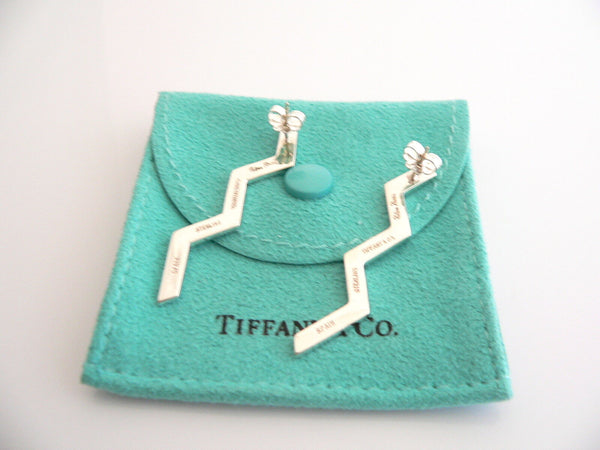 Tiffany & Co Silver Zig Zag Earrings Long Picasso Gift Pouch Love