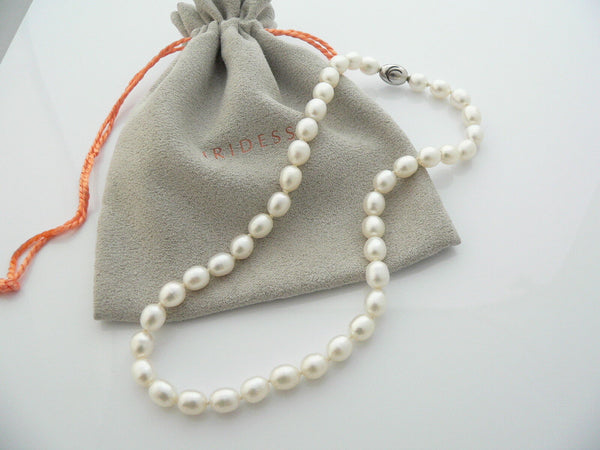 Iridesse Tiffany & Co Silver Pearl Necklace Strand Rare Gift Pouch Love