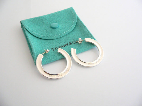 Tiffany & Co 1837 Hoop Earrings Silver Circle Round Gift Pouch Love Flat