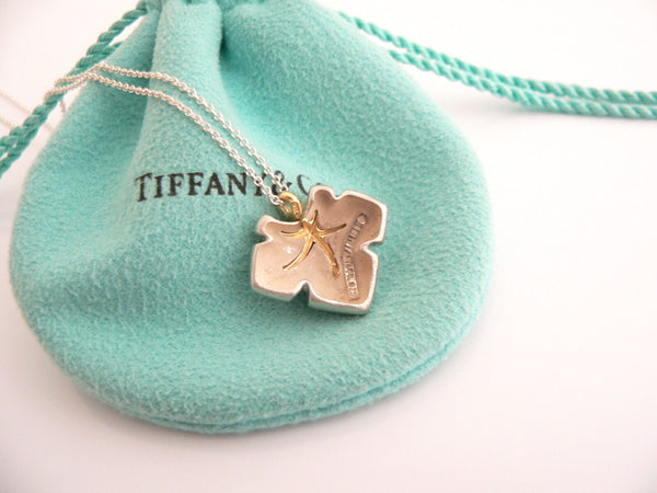 Tiffany & Co Silver 18K Gold Starfish Ivy Necklace Pendant Charm Gift Pouch