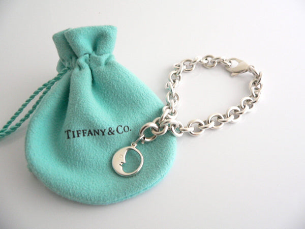 Tiffany & Co Silver Moon Bracelet Bangle Charm Pendant Chain Gift Pouch Love