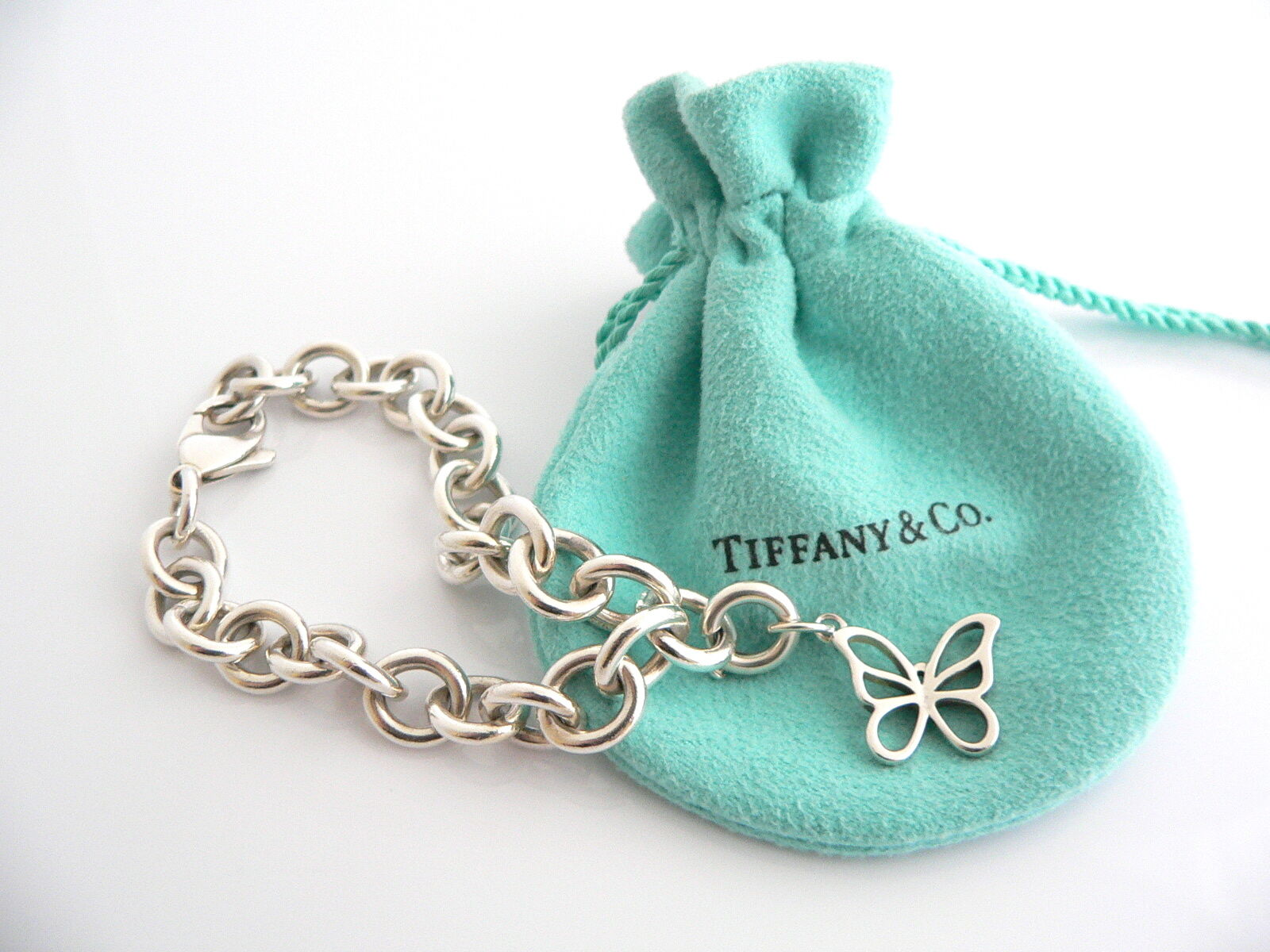 Tiffany & Co Silver Nature Butterfly Bracelet Bangle Charm Clasp Gift Pouch Love