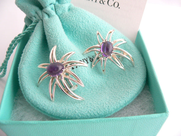 Tiffany & Co Silver Amethyst Gemstone Fireworks Clip On Earrings Pouch Gift