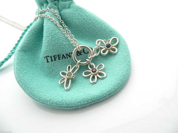 Tiffany & Co Silver Flower Butterfly Dragonfly Necklace Pendant Gemstone Gift