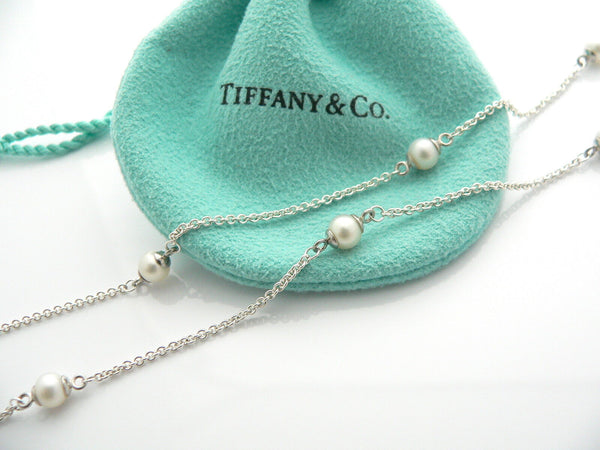 Tiffany & Co Pearls by the Yard Circle Necklace Pendant Chain Silver Gift Love