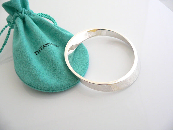 Tiffany & Co Silver Geometric Oval Bracelet Bangle Gift Pouch Love Rare