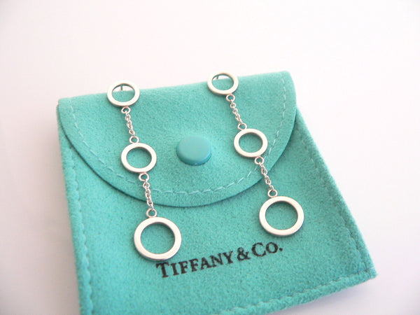 Tiffany & Co Silver 3 Triple Circles Dangling Dangle Earrings Rare Gift Pouch