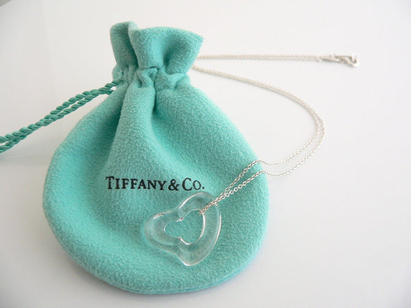 Tiffany & Co Silver Large Rock Crystal Open Heart Necklace Pendant Gift Pouch