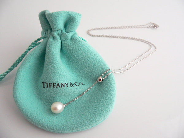 Tiffany & Co 18K Gold Pearl Dangle Dangling Necklace Pendant Chain Gift Pouch