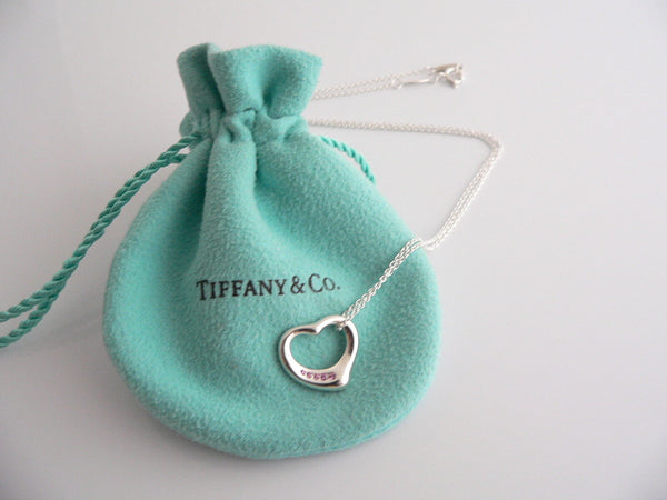 Tiffany & Co Peretti Silver 5 Pink Sapphires Heart Necklace Pendant Chain Gift