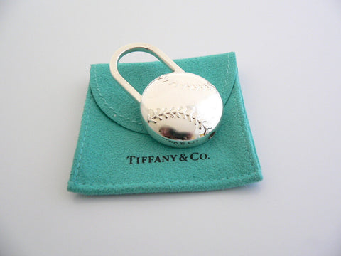 Tiffany & Co Silver Baseball Ball Padlock Key Ring Keychain Rare Gift Pouch