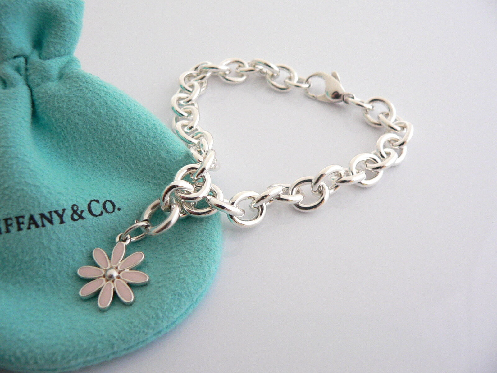 Tiffany & Co Silver Pink Enamel Daisy Flower Bracelet Bangle Charm Clasp Gift