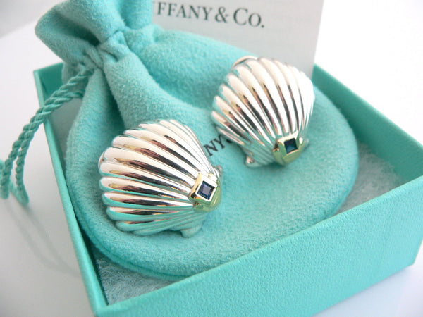 Tiffany & Co Silver 18K Gold Shell Blue Sapphire Clip On Earrings Rare Gift