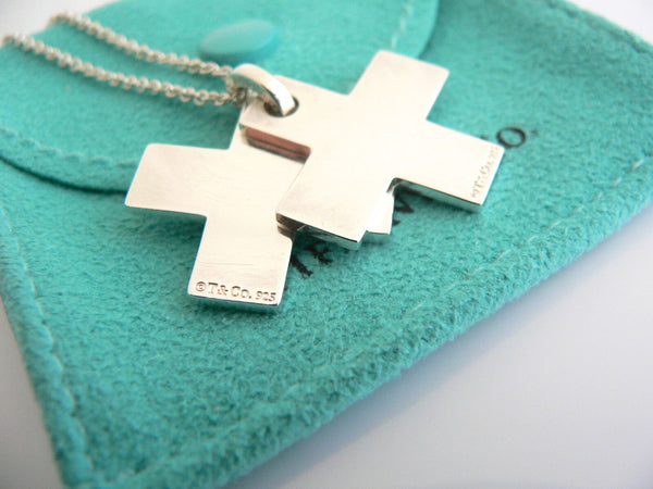 Tiffany & Co Silver 1837 Double Cross Necklace Pendant Charm 24 In Chain Gift
