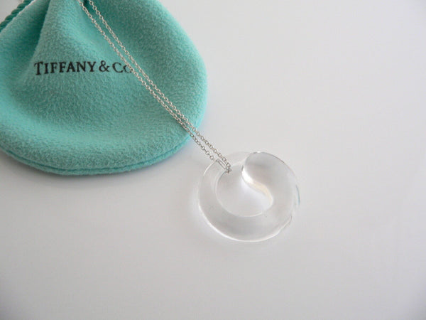 Tiffany & Co Silver Peretti Large Rock Crystal Eternal Circle Necklace Gift Love