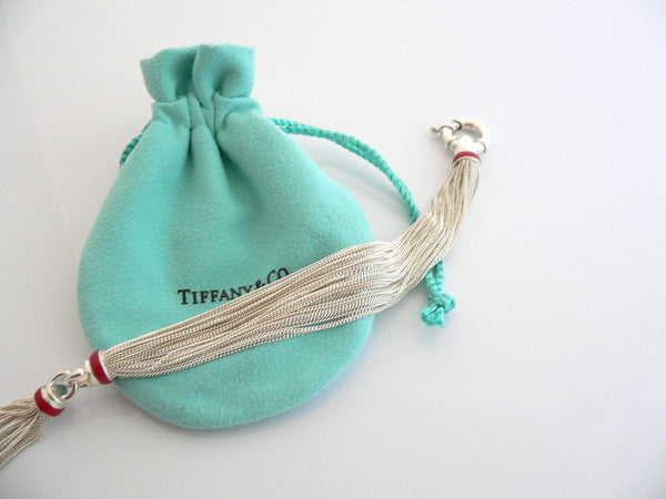Tiffany & Co Silver Red Enamel Multi Strand Necklace Pendant Gift Love Pouch Box