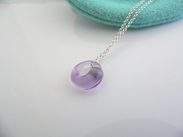 Tiffany & Co Silver Peretti Amethyst Eternal Circle Necklace Pendant Mint Gift