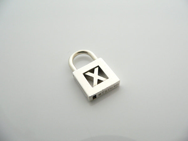 Tiffany & Co Sterling Silver Alphabet X Padlock Pendant Charm Love Gift Rare