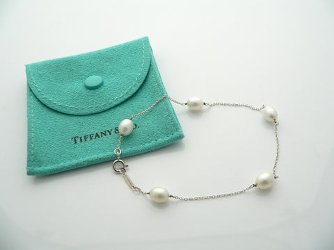 Tiffany & Co Silver Peretti Pearls by the Yard Bracelet 8 Inch Gift Pouch Love