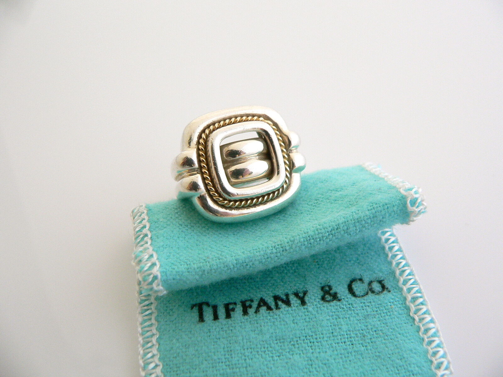 Tiffany & Co Silver 18K Gold Rope Square Ring Band 6 Rare Gift Pouch Love
