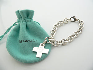 Tiffany & Co Silver 1837 Cross Bracelet Bangle Charm Clasp Gift Pouch Love Rare